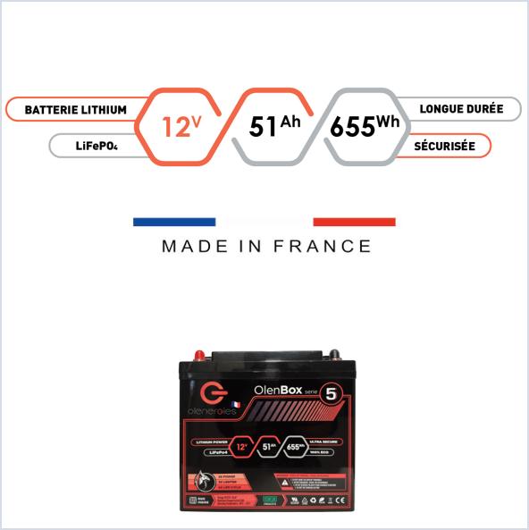 oe bx 0005 012v 051ah v01.0b01 France Battery Batterie OlenBox Lithium LFP 12V 51Ah Le spécialiste de la batterie lithium et matériels électriques